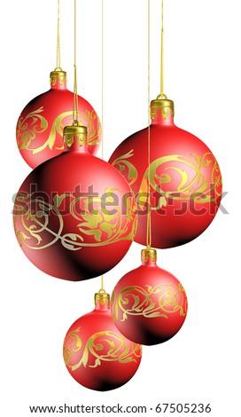 Shiny elegant christmas decoration isolated on white background. - stock photo