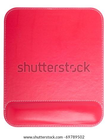 shiny ergonomic red mouse pad isolated on white background - stock photo