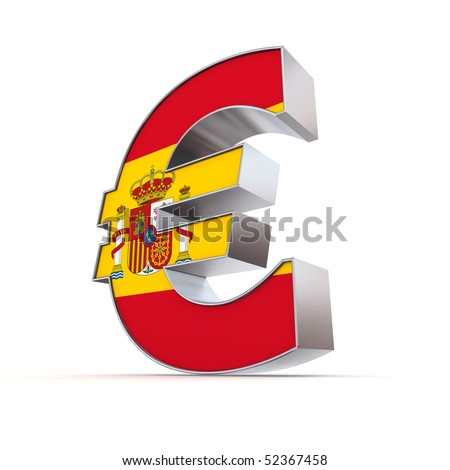 shiny euro symbol in a chrome and metal look - front surface is textured with spanish flag - stock photo