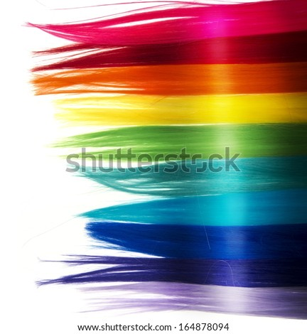 Shiny fashion hair background with rainbow color - stock photo