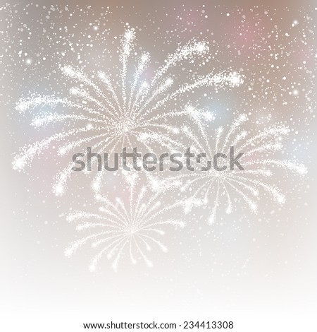 Shiny fireworks on silver background - stock photo
