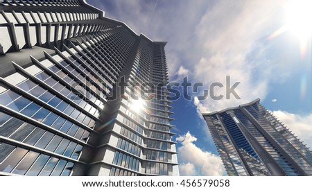 Shiny glass buildings reflect the sun, clouds. 3D illustration. - stock photo