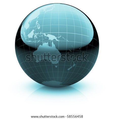 Shiny globe marble with highly detailed continents and geographical grid  facing Australia and Oceania - stock photo