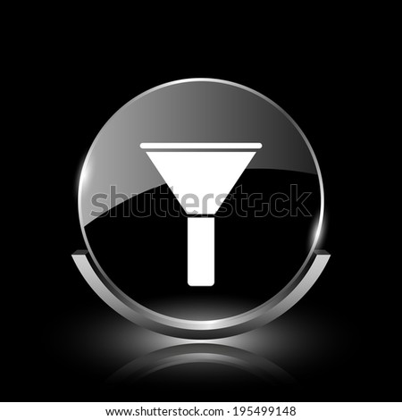 Shiny glossy glass icon on black background - stock photo