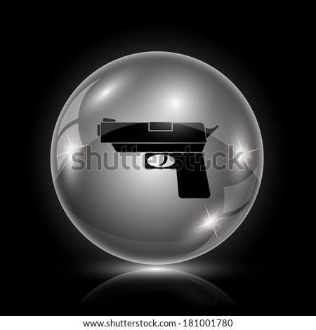 Shiny glossy icon - glass ball on black background - stock photo