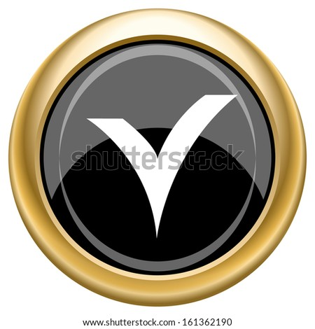 Shiny glossy icon with white design on black and gold background