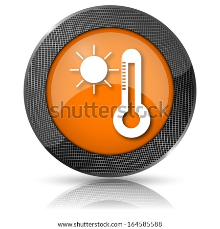 Shiny glossy icon with white design on orange background - stock photo