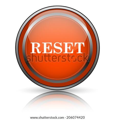 Shiny glossy orange icon on white background. - stock photo