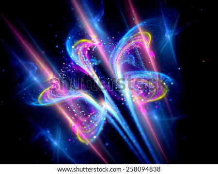 Shiny glowing flower shape object with particles, computer generated abstract background - stock photo