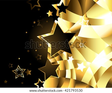 shiny, gold, abstract background with stars. Design with stars. Golden Star. - stock photo