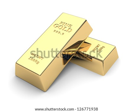Shiny gold bars isolated on a white. 3d image - stock photo