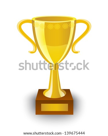 shiny gold cup on a wooden stand - stock photo