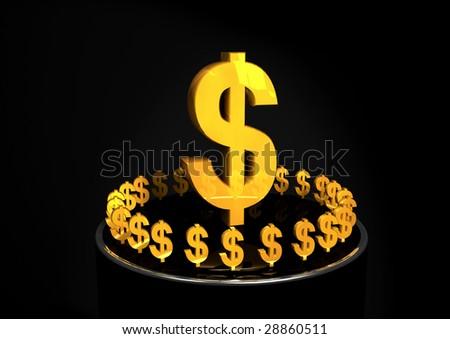 Shiny Gold Dollar Signs - stock photo