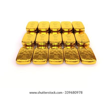 Shiny gold ingots of the highest standard on a white background. 3D illustration - stock photo