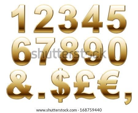 Shiny Gold Numbers and Symbols on white. 3d Render - stock photo