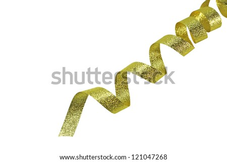Shiny gold ribbon on white background with copy space. Macro with extremely shallow DOF. - stock photo