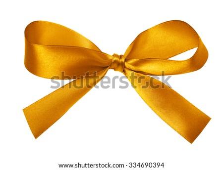 Shiny gold satin ribbon on white background - stock photo