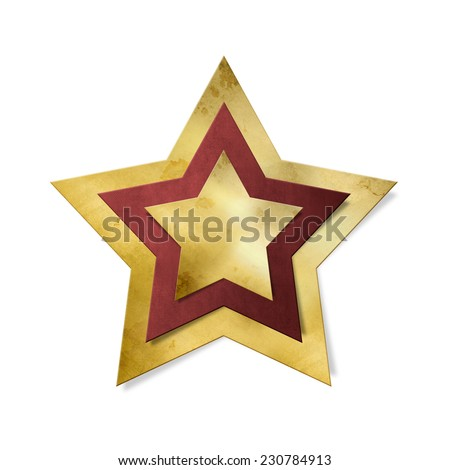 Shiny gold star with red frame isolated, clipping path included