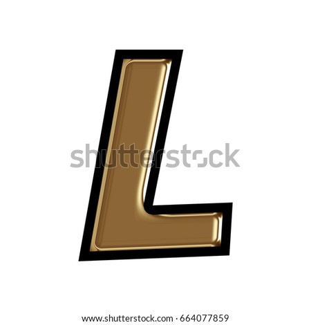 Shiny Gold Uppercase Or Capital Letter L In A 3D Illustration With Dark Metal Golden