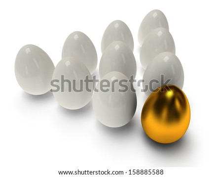 Shiny golden and white eggs on white background. Easter egg, money, business, out of crowd concepts. 3D render.