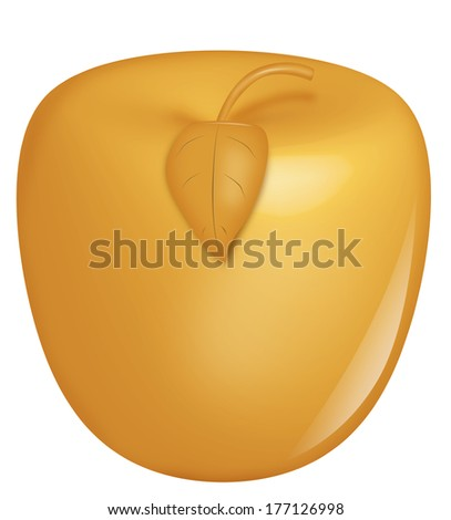 Shiny golden apple with leaf and twig