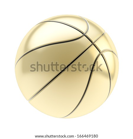 Shiny golden basketball ball 3d render isolated over white background - stock photo