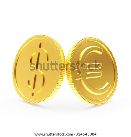 Shiny golden coins with dollar and euro signs isolated on a white background - stock photo