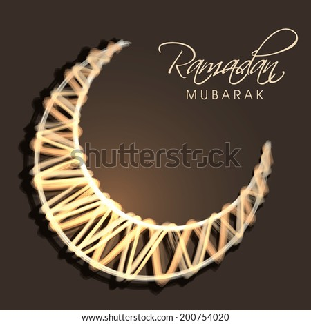 Shiny golden crescent moon on brown background for holy month of Muslim community Ramadan Mubarak.  - stock photo