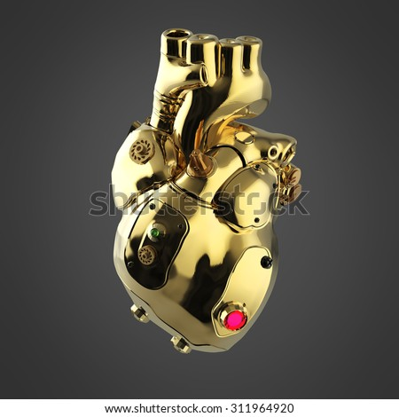 Shiny golden cyborg techno heart with shiny golden details and colored glass indicators,  front view perspective off - stock photo