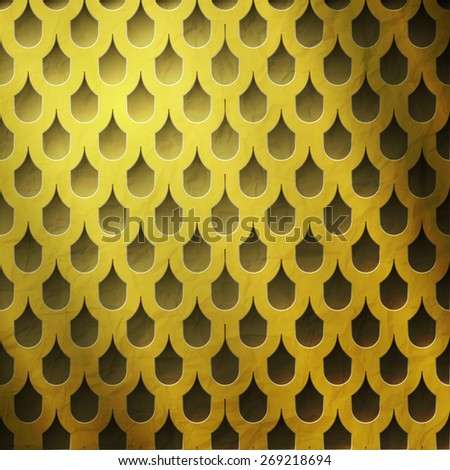 shiny golden grate with tiled holes. luxury background - stock photo