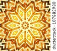 Shiny golden kaleidoscope star. High resolution 3D image - stock photo