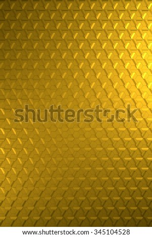 Shiny golden or brass hexagonal relief metal surface - vertical background  - stock photo