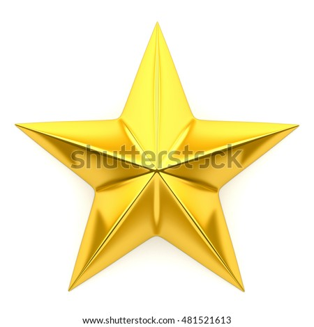 Shiny golden star - 3d rendering