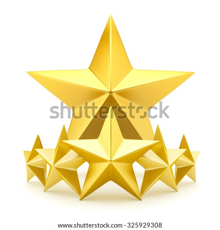 Shiny golden stars - stock photo