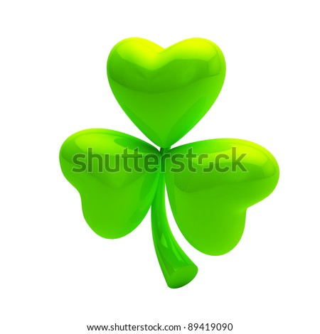 Shiny green clover isolated on white