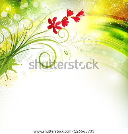 Shiny greeting card with flowers. Rasterized version