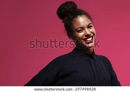 shiny happy black woman with a bright lipstick - stock photo
