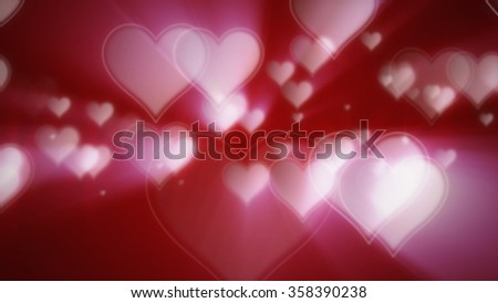 Shiny hearts bokeh Valentine's day abstract red background - stock photo