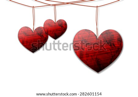 Shiny hearts hanging on the rope on white background - illustration with place for your text - stock photo