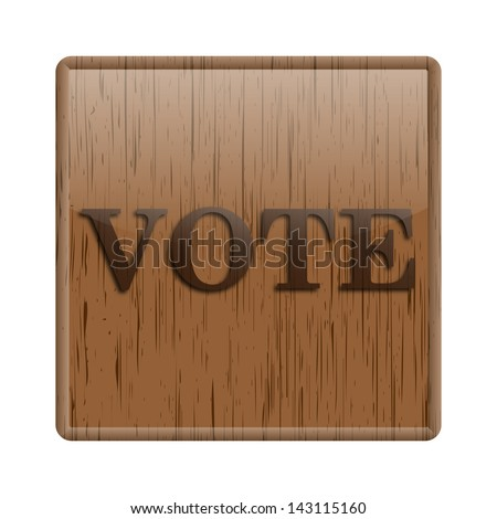 Shiny icon with brown design on wooden background
