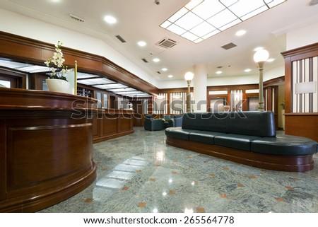 Shiny Interior of a hotel lobby  - stock photo