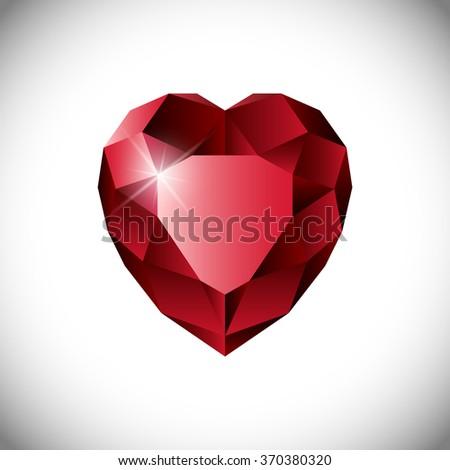 Shiny isolated red ruby heart shape on white background. - stock photo