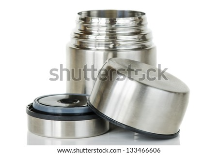 shiny little metal thermos with lid open