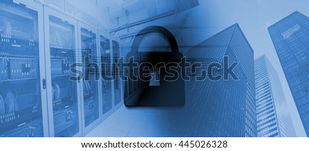 Shiny lock on black background against image of a data center