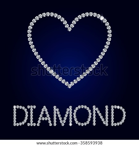 Shiny made with diamond heart on dark blue background. Shiny diamond heart. Diamond letters.  Romantic Valentine's Day Card. - stock photo