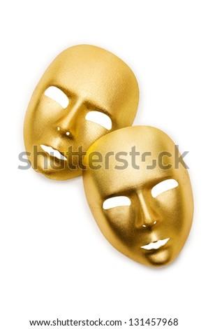 Shiny masks isolated on white background - stock photo