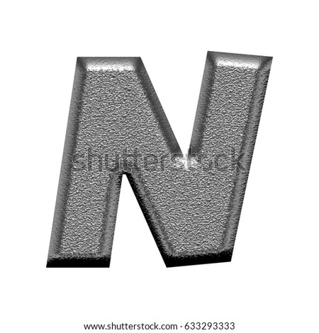 Shiny metal chiseled textured uppercase or capital letter N illustration with a rough chrome metallic texture in a basic bold thick & heavy font isolated on a white background with clipping path.