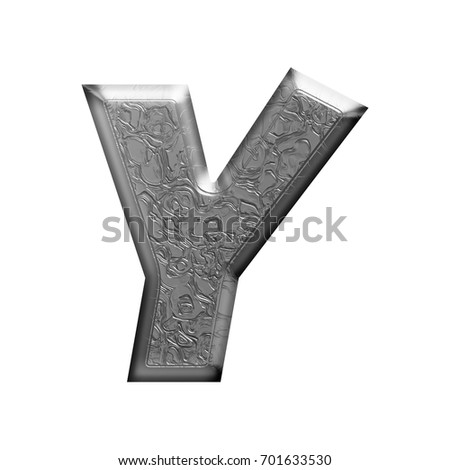 Shiny metal elegantly engraved uppercase or capital letter Y in a 3D illustration with a carved pattern texture and silver chrome basic bold font isolated on a white background