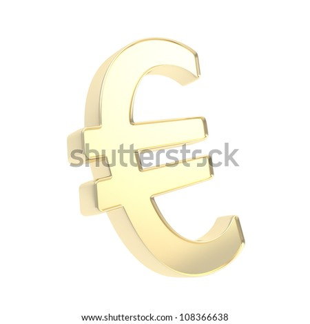 Shiny metal euro symbol emblem made of glossy golden material isolated on white background
