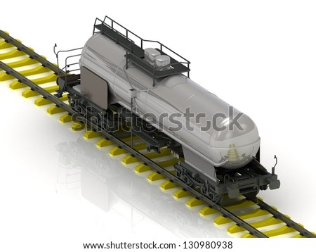 Shiny metal tank car of oil on the railroad. Isolated concept - stock photo